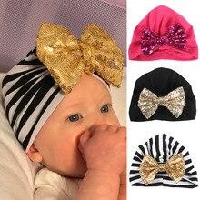 Bebek yumuşak pamuk şapka kapaklar Glitter Sequins büyük yay kasketleri şapkalar erkek kız Toddler çocuk sıcak kapağı aksesuarları