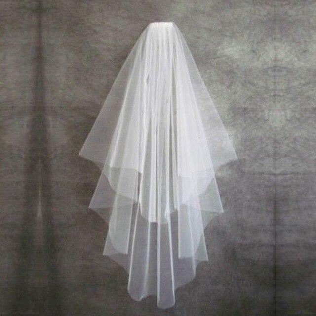 Gran oferta de accesorios de boda velo de novia sencillo corto marfil dos capas velo de novia con peine barato velo de boda