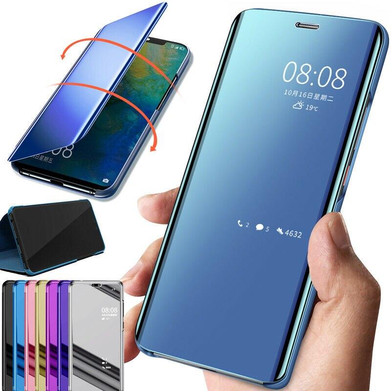 Funda inteligente para Samsung Galaxy S20 Note 10 S9 S8 Plus S7 Edge, funda abatible de piel con Vista de espejo para Samsung Galaxy S10 5G S10E