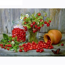 5D broderie de fleurs fraises avec broderie   Diamant, mosaïque pierreries, strass pour décor de maison, peinture en diamant, point de croix
