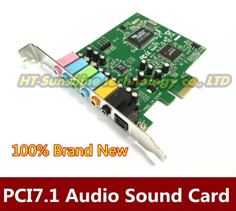 Высокое качество PCI Express PCI-E 7,1 комплект поставки 24-битная частота дискретизации 7,1 PCI-e звуковая аудиокарта Бесплатная доставка