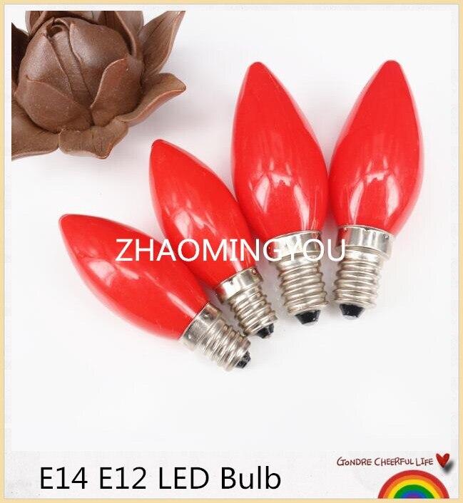 1 Uds luz de la vela E12 / E14 bombillas LED AC220V paisaje de iluminación rojo de iluminación de 360 grados de plástico PC lámpara LED