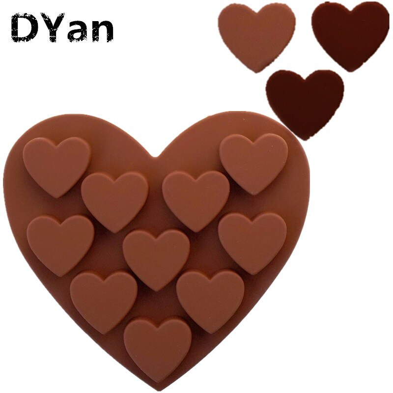 Envío gratis 10 agujeros amor en forma de corazón molde de pastel de silicona molde de gelatina de entramado de hielo A066
