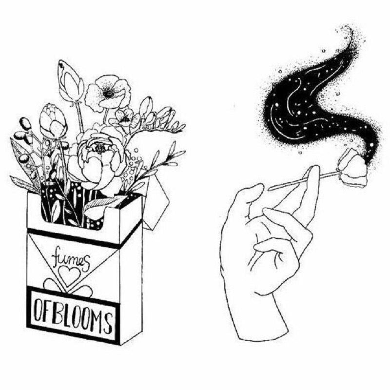 Caja de cigarrillos Rosa broche humos de flores mano sosteniendo Rosa fumando broche de esmalte de dibujos animados para hombres y mujeres en regalo de amor
