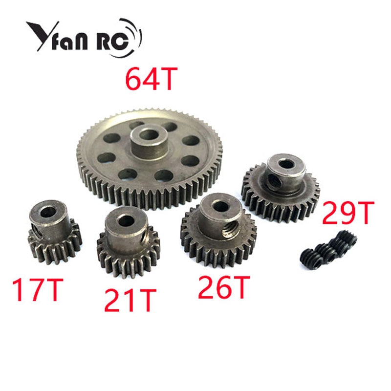 Yfan RC HSP 1:10 11184 Steel Metal Spur different Main Gear 64T/21T/29T/17T/26T Motor Pinion Gears Free Shipping