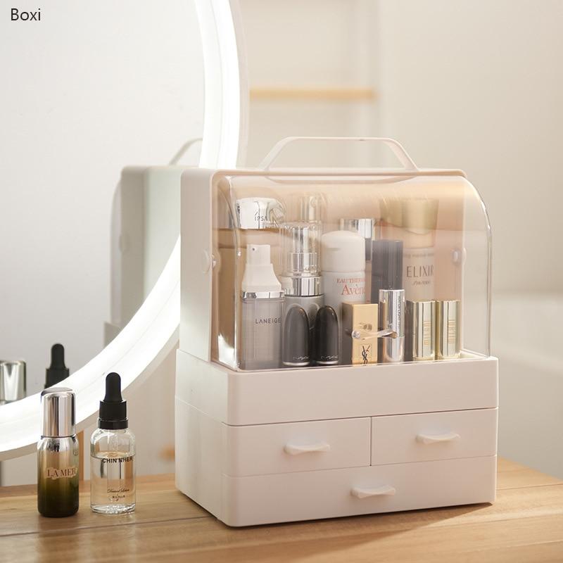Boxi-صندوق تخزين لمستحضرات التجميل ، درج متعدد الطبقات ، بلاستيك شفاف ، مقاوم للغبار ، للمجوهرات وطلاء الأظافر