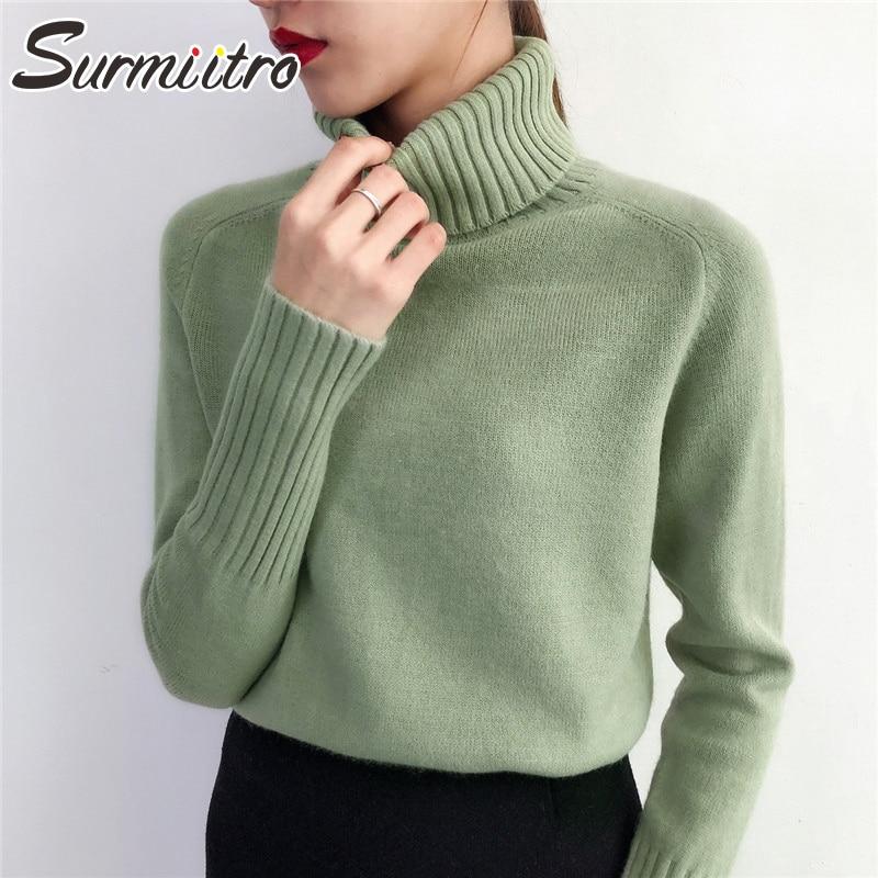 SURMIITRO Cashmere Knitted Sweater Women 2020 Autumn Winter Korean Turtleneck Long Sleeve Pullover Female Jumper Green Knitwear