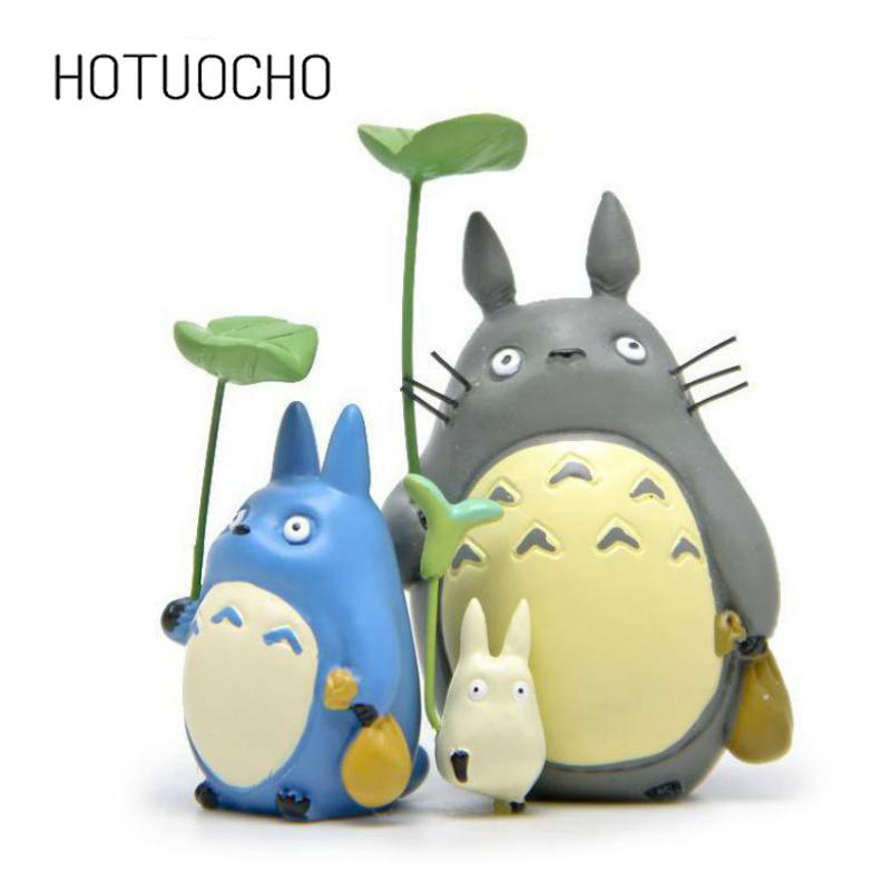 Poupée Totoro bricolage 3 pièces/ensemble   Figurines miniatures de paysage, dessin animé Kawaii, jouet Miniature de jardin, cadeaux pour enfants