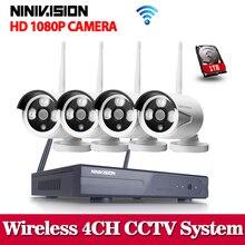 NINIVISION-système de WIFI NVR   Prise & Play 1080P, HDMI 4CH, KIT NVR 2,0 mp, super signal sans fil P2P, caméra WIFI IP, vidéosurveillance en plein air