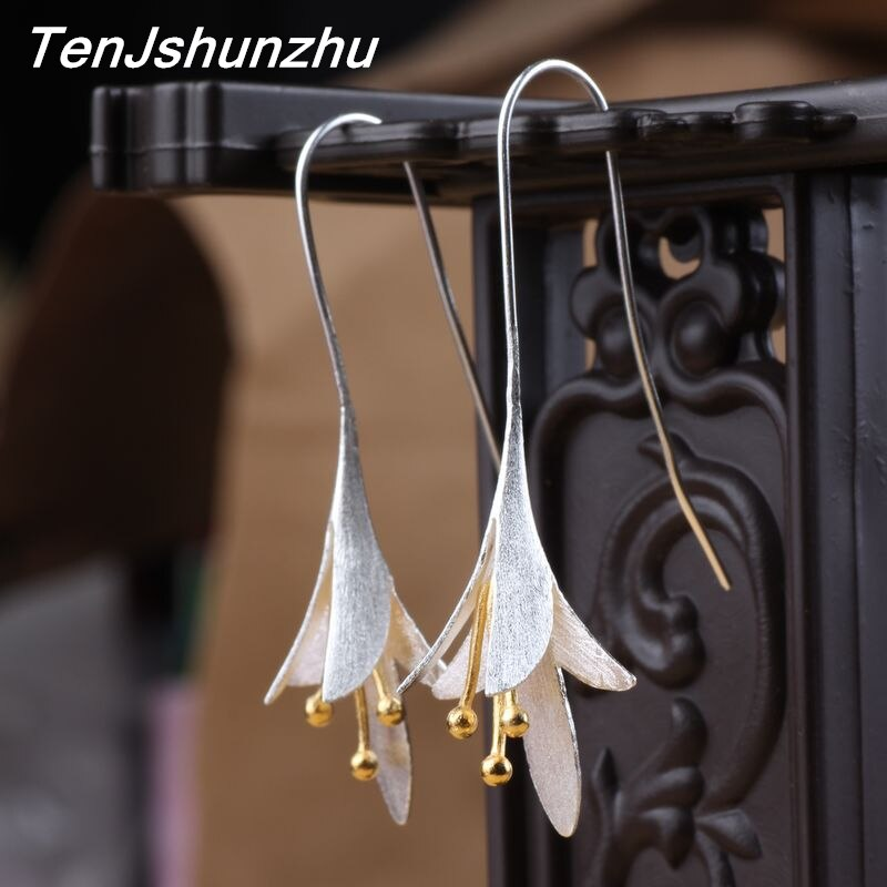 Pendientes TenJshunzhu de Plata de Ley 925 con flores para mujer, elegantes pendientes de plata para prevenir alergias 925 EH441