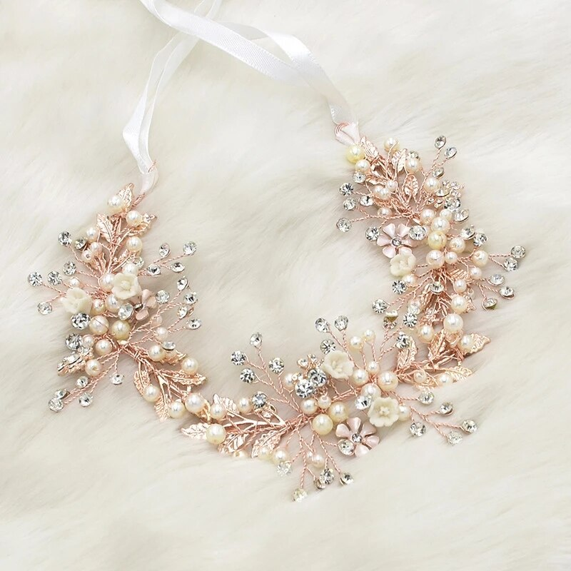 Diadema romántica hecha a mano de oro rosa, cinta con perlas para boda, diademas para desfile nupcial, piezas para mujeres, Tiaras de joyería