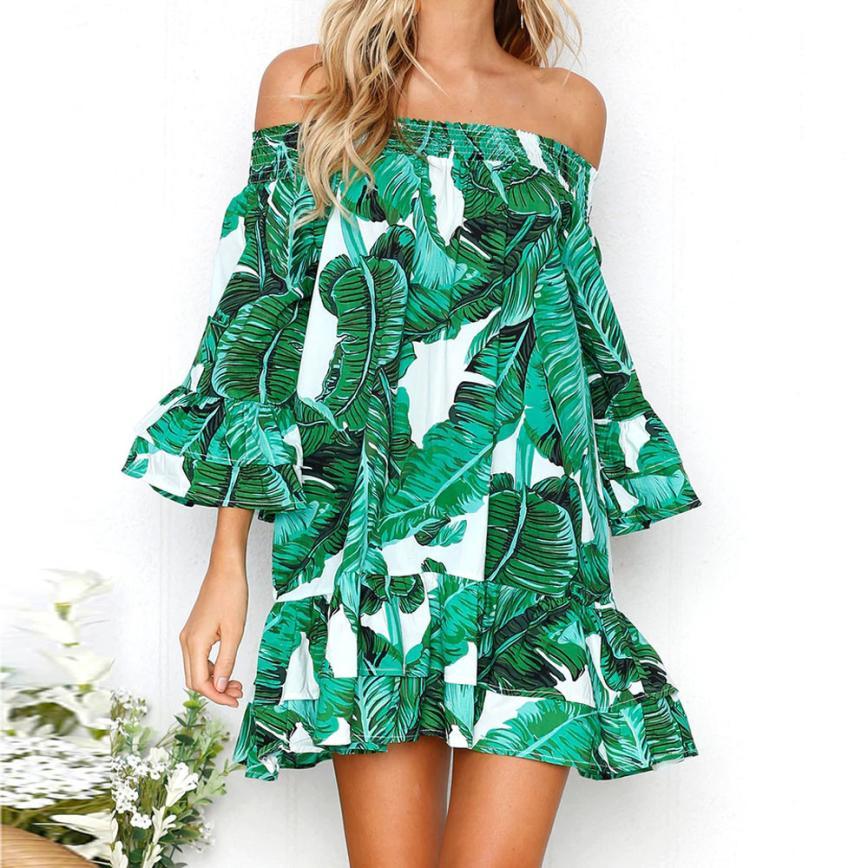 Kancoold vestido novo de alta qualidade menina sexy folhas impressão fora do ombro meia manga vestido princesa vestido feminino ap24