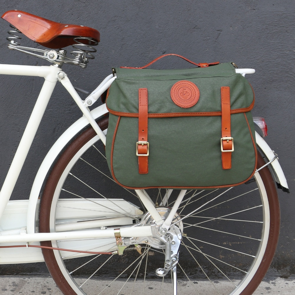 Tourbon City, bicicleta Vintage, alforja trasera, cremallera, asiento trasero, sillín, bolsas, equipaje de bicicleta, dos bolsas, lona encerada impermeable