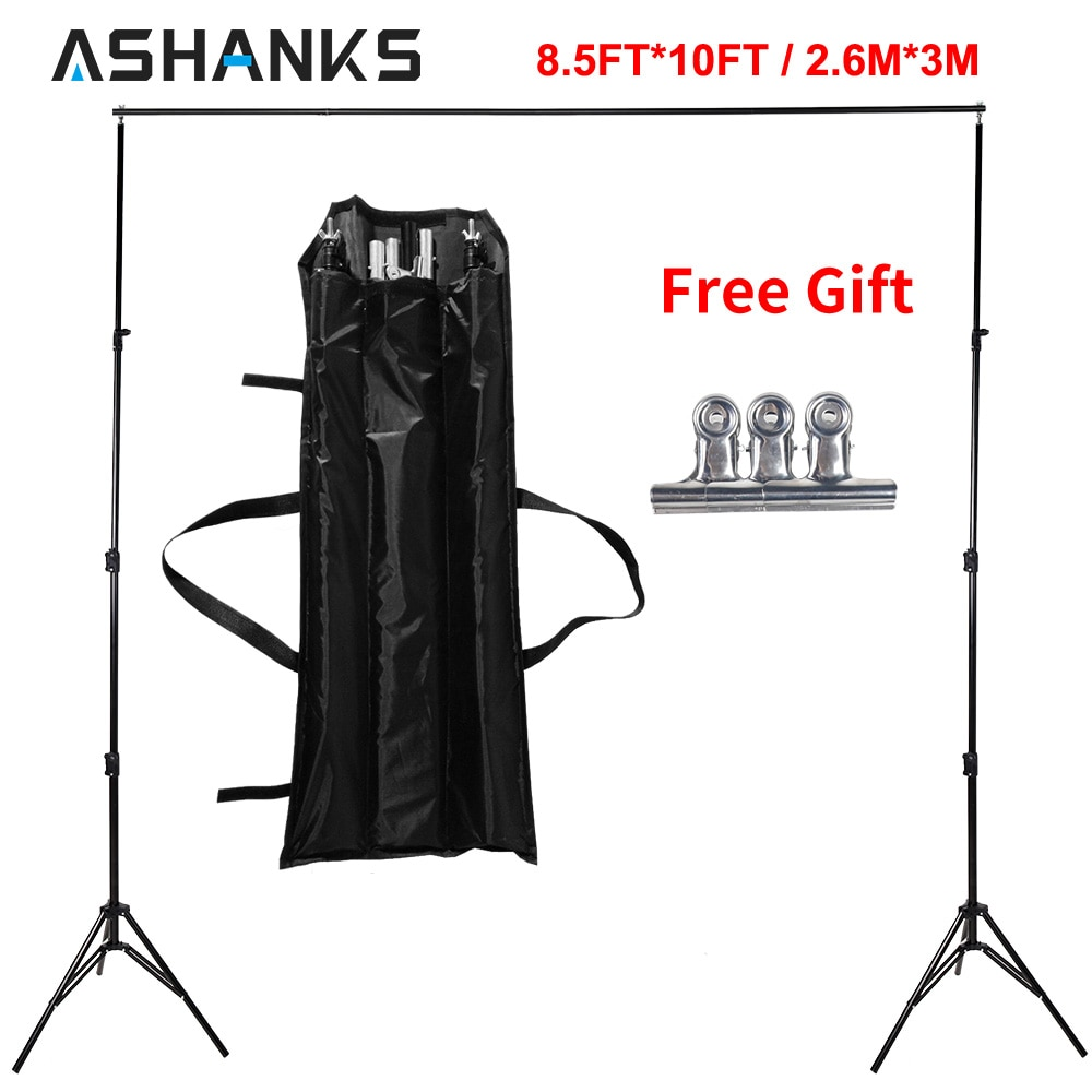 ASHANKS 8.5ft * 10ft Fondo Stand Pro fotografía Video foto telón de fondo sistema de soporte para fotografía estudio con bolsa de transporte