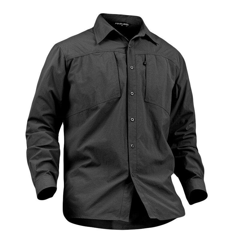 Primavera ao ar livre treinamento de secagem rápida respirável camisa de lapela dos homens esportes escalada manga longa bolsos do exército camisas táticas topos