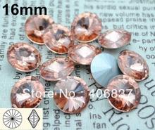 ¡100 unids/lote, 16mm Luz Melocotón cristal Rivoli, envío gratis! Rivoli de cristal de alta calidad chino