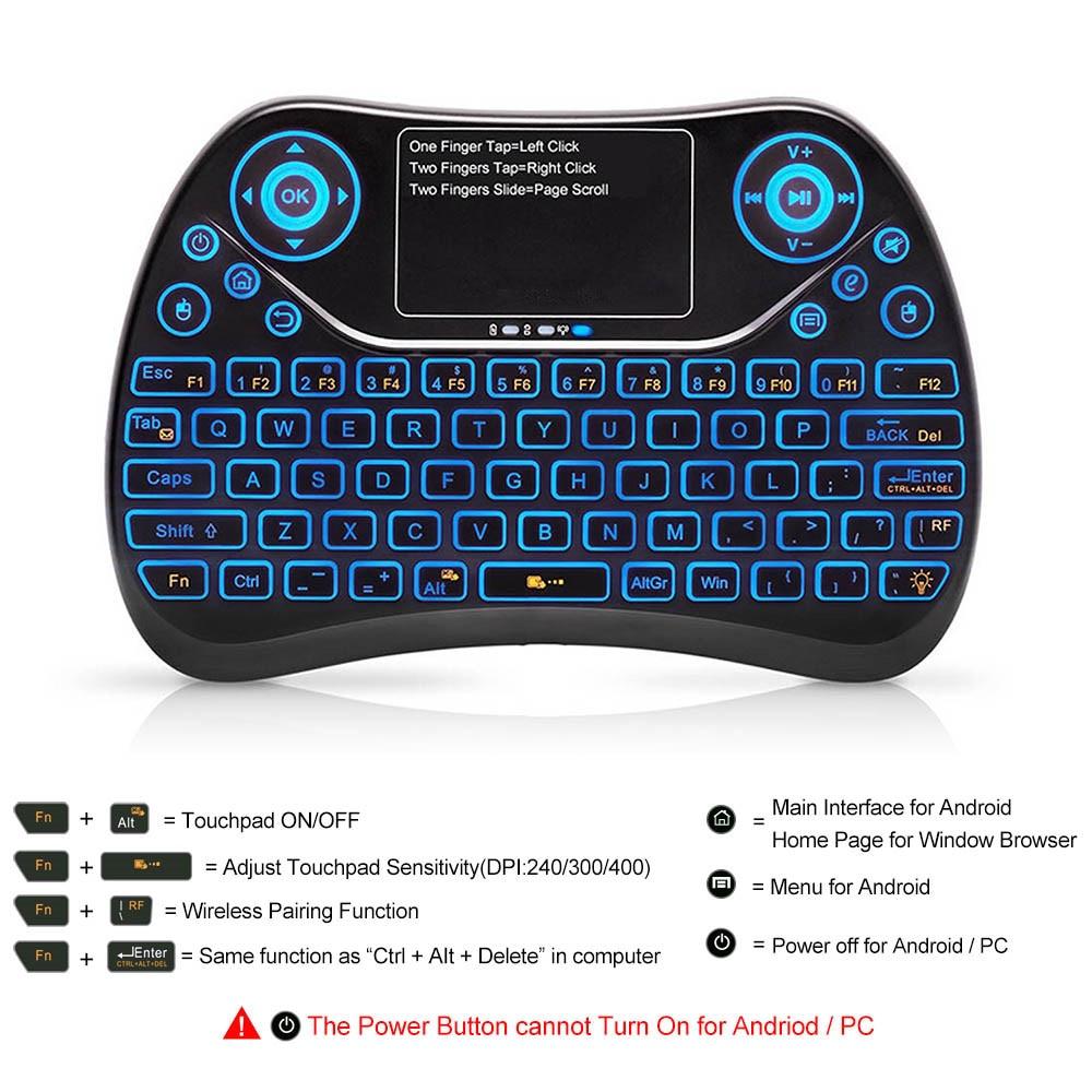 Mini teclado inalámbrico 2 en 1 Juego de teclado ratón de aire con el Touchpad para la televisión inteligente para Samsung LG Android TV caja PC portátil HTPC