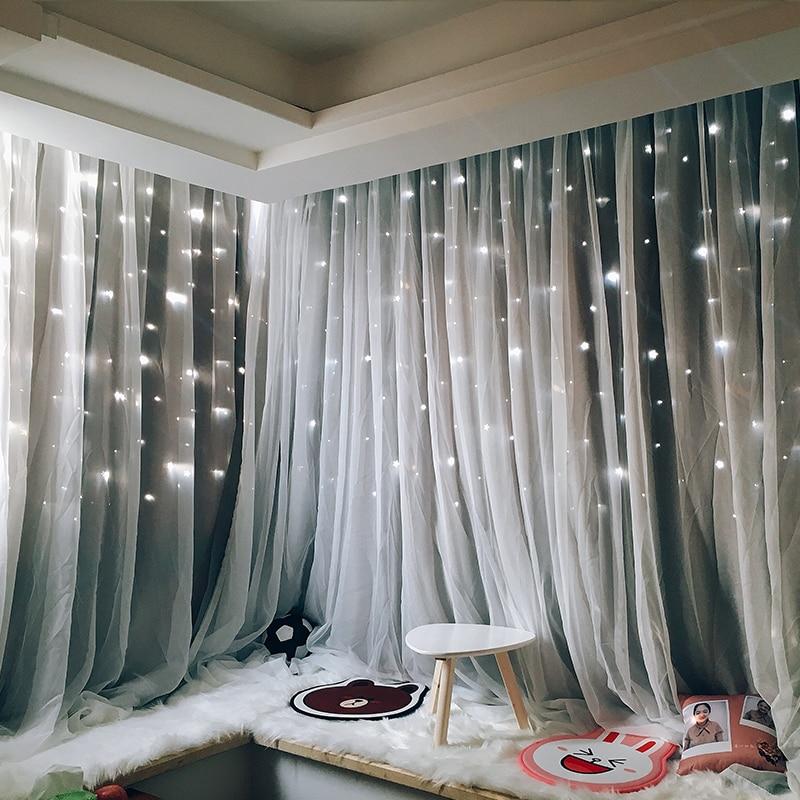 Cortinas para sala de estar con estrellas románticas, cortinas de tul de gasa rosa para boda, habitación de niños, cortinas opacas de doble capa