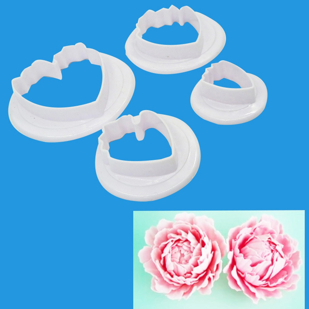 Feiqiong 4pcs Plastic Flower Mould Petals Pattern Cutting Mold Cookie Cake Cutters Moulds Baking Decorating Tools New