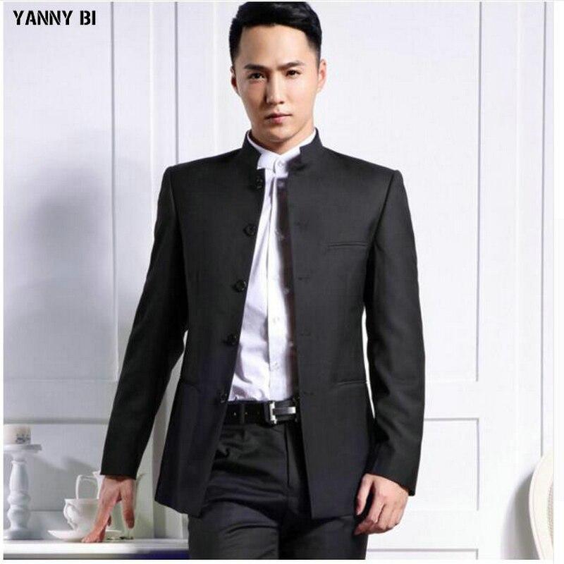 Mannen jacket wedding bruidegom knappe jasje mode populaire stijl Mandarijn kraag custom hoge kwaliteit mannen jas