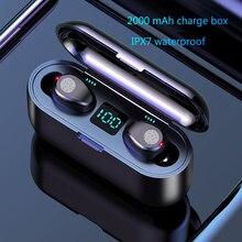 Wireless Earphone Bluetooth V5.0 F9 TWS Wireless Bluetooth Headphone LED Display 2000mAh Charging Box Headsets With Microphone