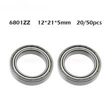 20/50PCS 6801ZZ Bearing ABEC-1 12*21*5 mm 6801z Metric Thin Section 6801Z Ball Bearings 6801 ZZ 61801