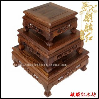 Kylin porte-fleurs en bois de rose   Artisanat, aile dart en bois, soucoupe base jade tigre pieds carré table valeur de travail