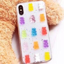 Qianliyao 3D mignon couleur bonbon ours coque de téléphone pour Huawei P20 P30 P40 Pro étuis pour Huawei Mate 20 30 Pro paillettes souple housse en TPU