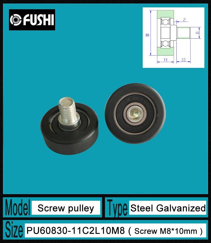PU 608 Screw Pulley Bearing 8*30*11 mm ( 1 PC) Doors and Windows Roller Mute Wheel PU608 + M8*10 Engineered Plastic Bearings