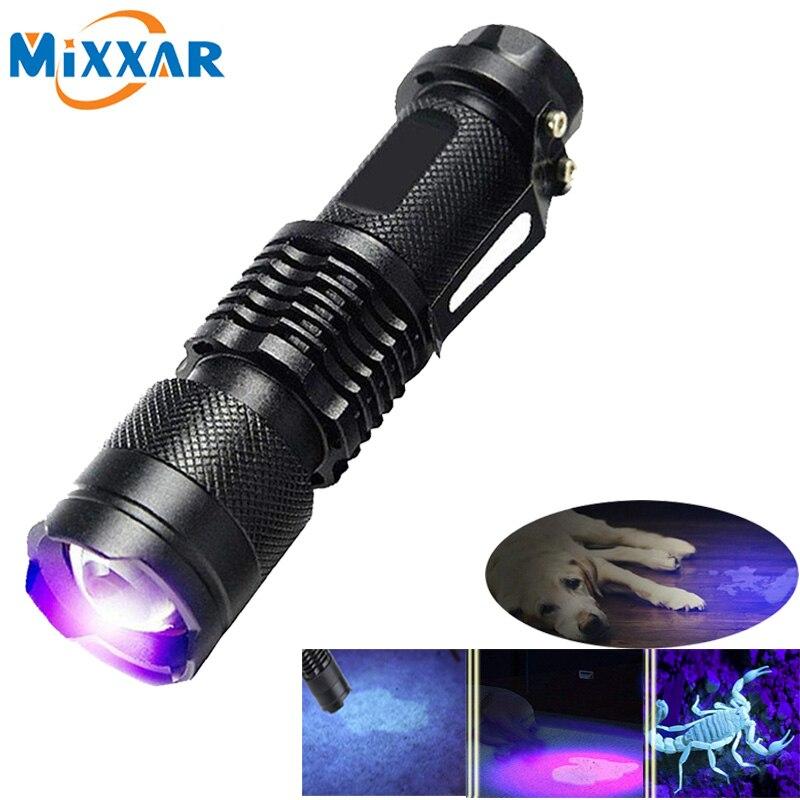Linterna Led UV de 395NM, luz de Ultravioleta, luz púrpura, lámpara UV, batería AA para detección de marcadores