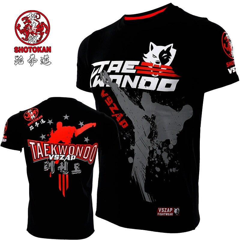 Été VSZAP Taekwondo hommes Fitness T-shirt sport entraînement combat à manches courtes MMA compétition combat Performance T-shirt