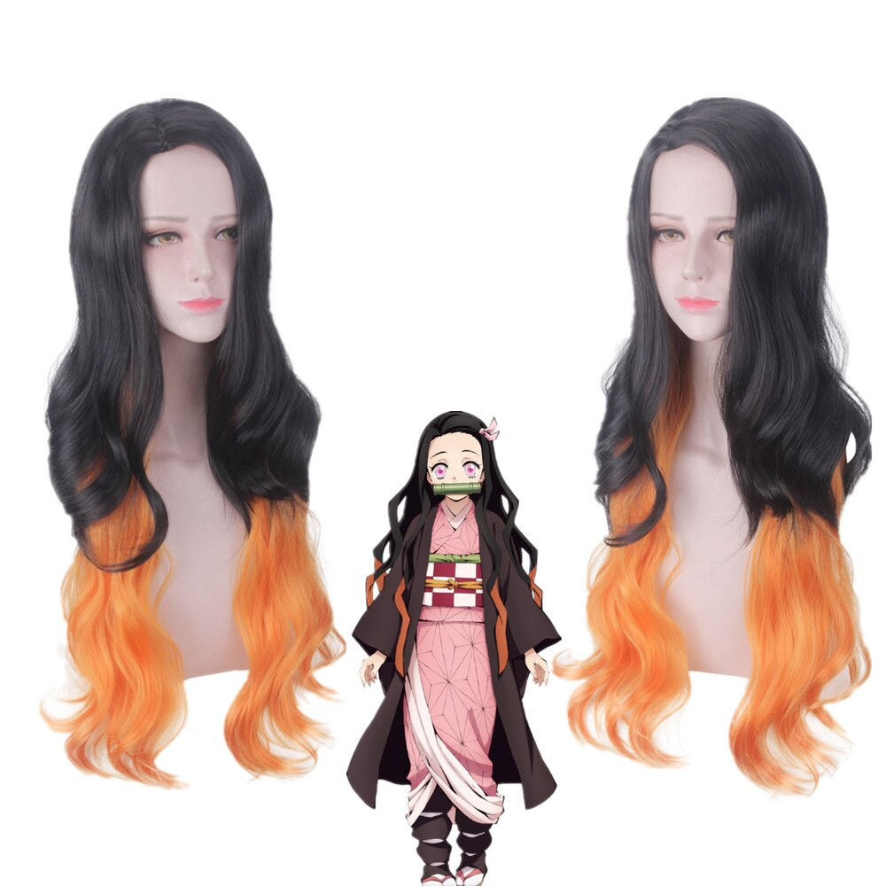Demonio asesino kimetsu No Yaiba Kamado Nezuko Cosplay pelucas 100cm largo rizado ondulado resistente al calor sintético Hiar gradiente negro
