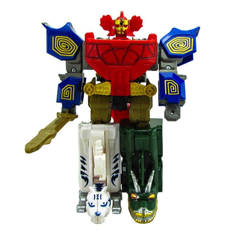 Figura de acción 5 en 1 de Transformers, Robot de juguete para niños, regalo de dinosaurio Ranger, ensamblaje de Megazord