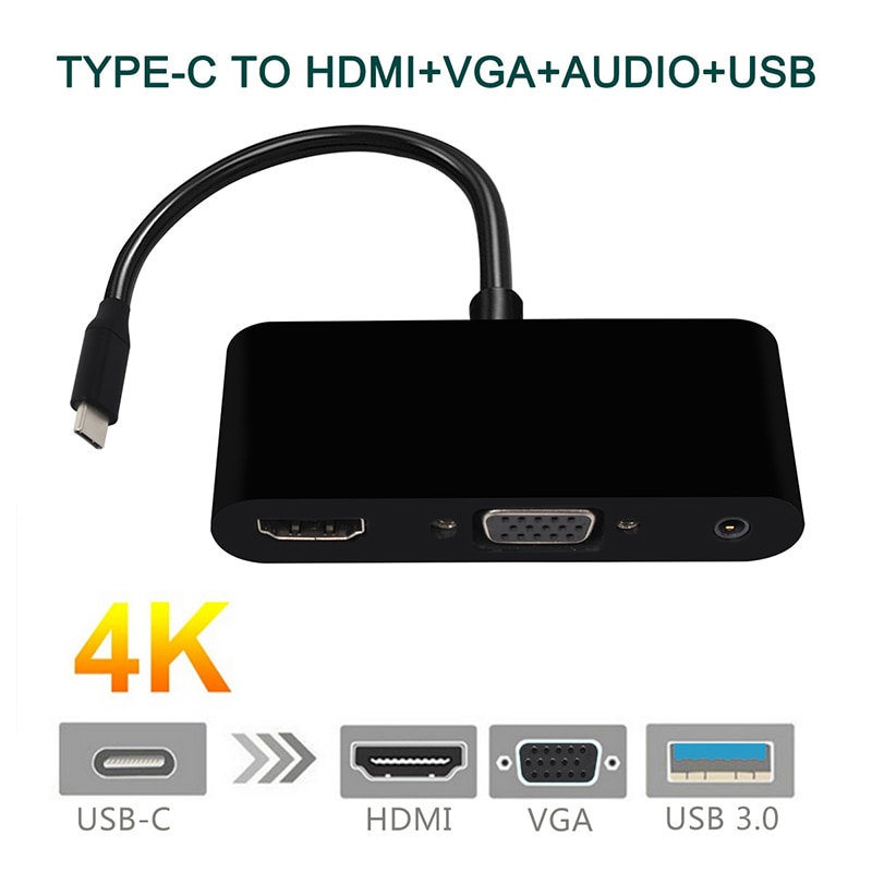 USB C to HDMI VGA 3.5mm Audio Adapter USB 3.1 Type-C 1080P 4K 3 in 1 for New Macbook Laptop Google Computer Samsung S8 enlarge