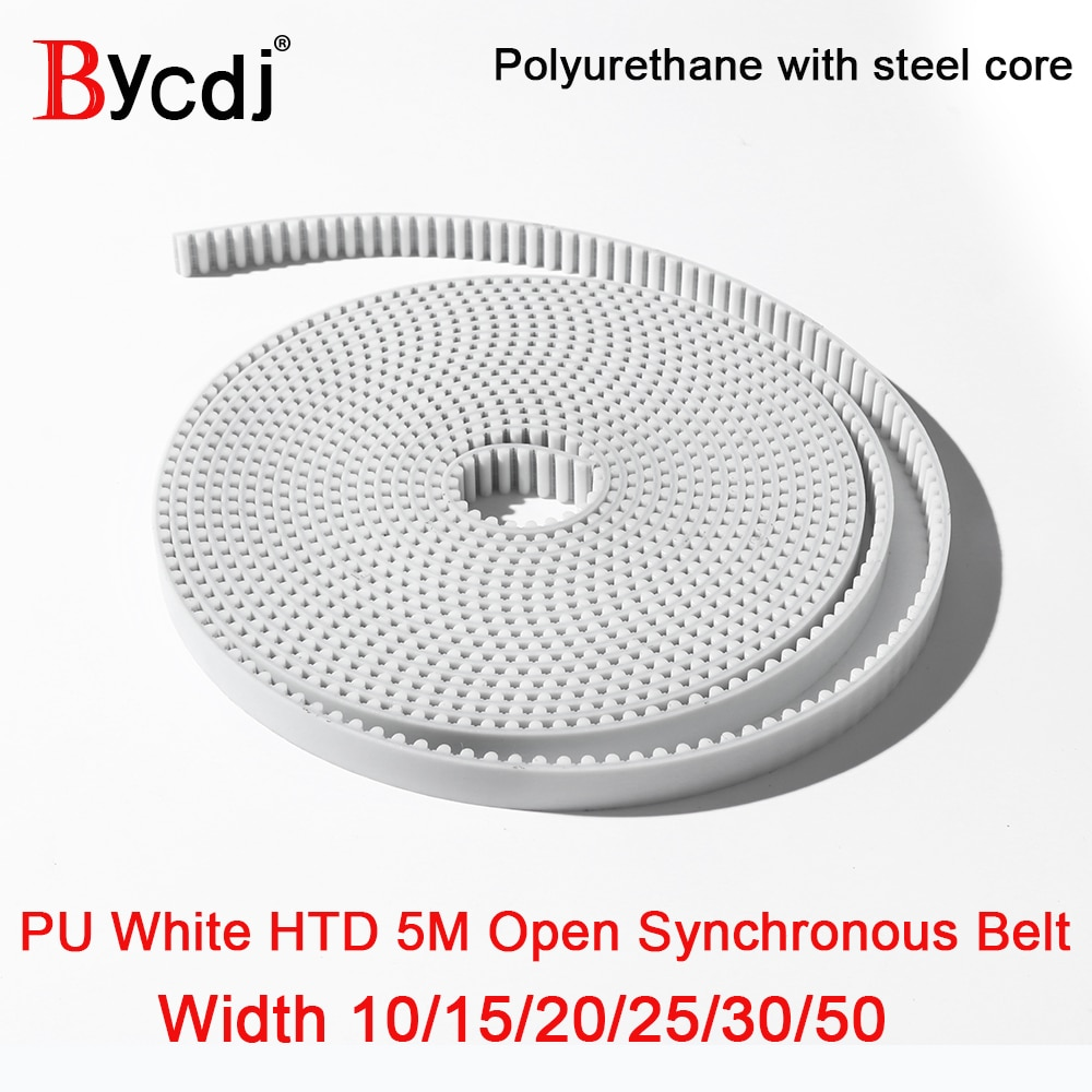 wanhua wanhua htd портативные рации гражданские коммерческие 10meters Arc Tooth PU White HTD 5M Open Timing belt Width 10/12/15/20/25/30/50mm Polyurethane with steel core HTD 5M belt Bycdj