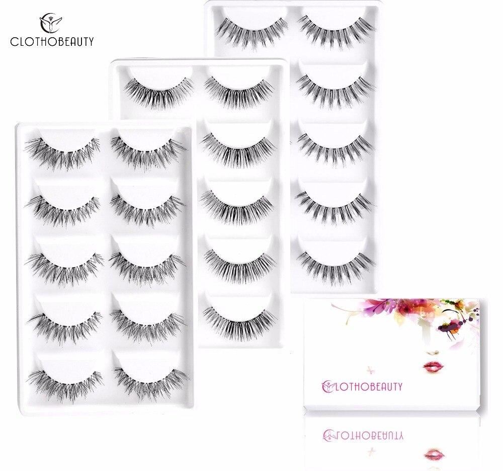 False Nature Eyelashes,CLOTHOBEAUTY 15 Pairs Handmade Fake Eyelashes, Soft Invisible Band,Long/Thick Reusable(15-W7)