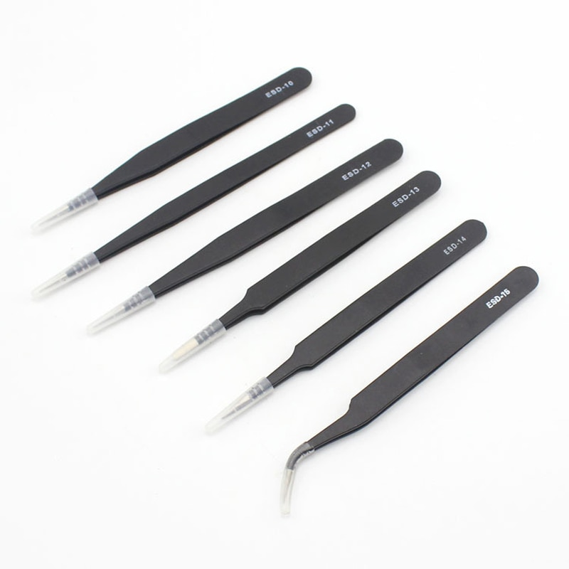 6Pcs/Set Electronics Precision Tweezers Set for Watch Jewelry Mobile Phone Industrial Repair Anti Static