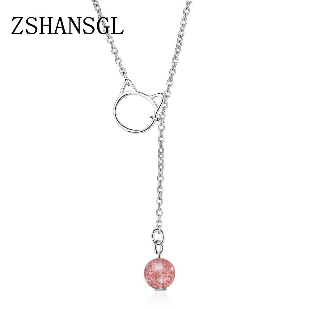 Collar de Plata de ley 925 auténtica con colgante de cristal de corte redondo de color rosa exquisito para mujer, regalo de joyería de Plata de lujo