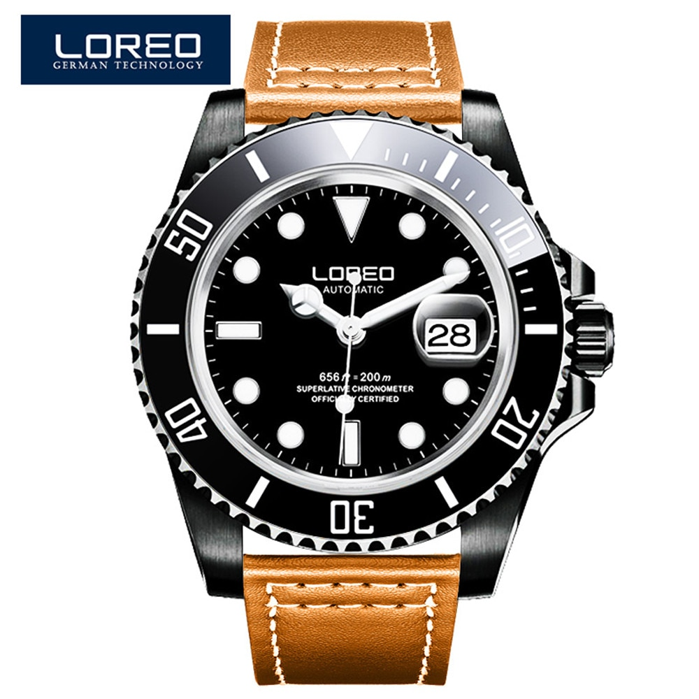 Relojes deportivos militares LOREO resistentes al agua de 200 M, reloj mecánico automático de cuero para hombre, reloj de Suiza, relojes 2019