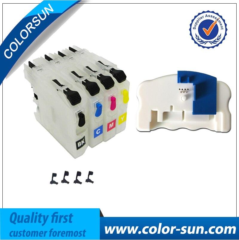 Cartucho de tinta rellenable + chip reseteador para Hermano LC203 LC213 LC223 LC233 LC205 LC207 LC209 LC235 LC237 LC663 LC123 LC133