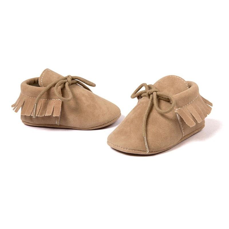 Mocasines de piel sintética para recién nacidos y niños y niñas, zapatos suaves mocasines con flecos, suela blanda antideslizante para cuna, zapatos de bebé con cordones