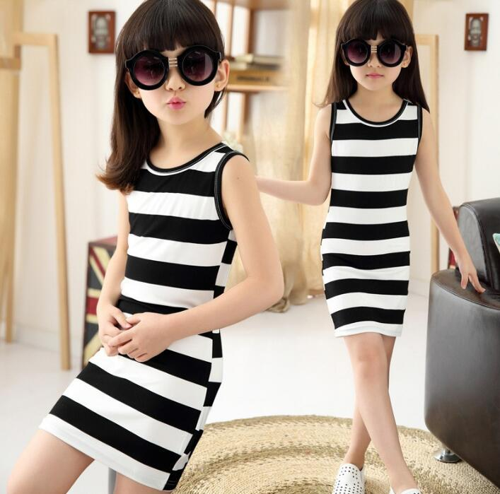 MERI AMMI Children Girl Stripes Dressing Summer Sleeveless Long T-Shirt Striped Bow Dresses For 3-12 Year Girl