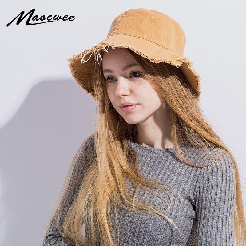 Jeans Bucket Hat Fashion Summer Women Denim Sun Hat Floppy Cap Wide Brim Foldable Sun-Proof K Pop Fishing Hat 2018 Hip Hop Bones