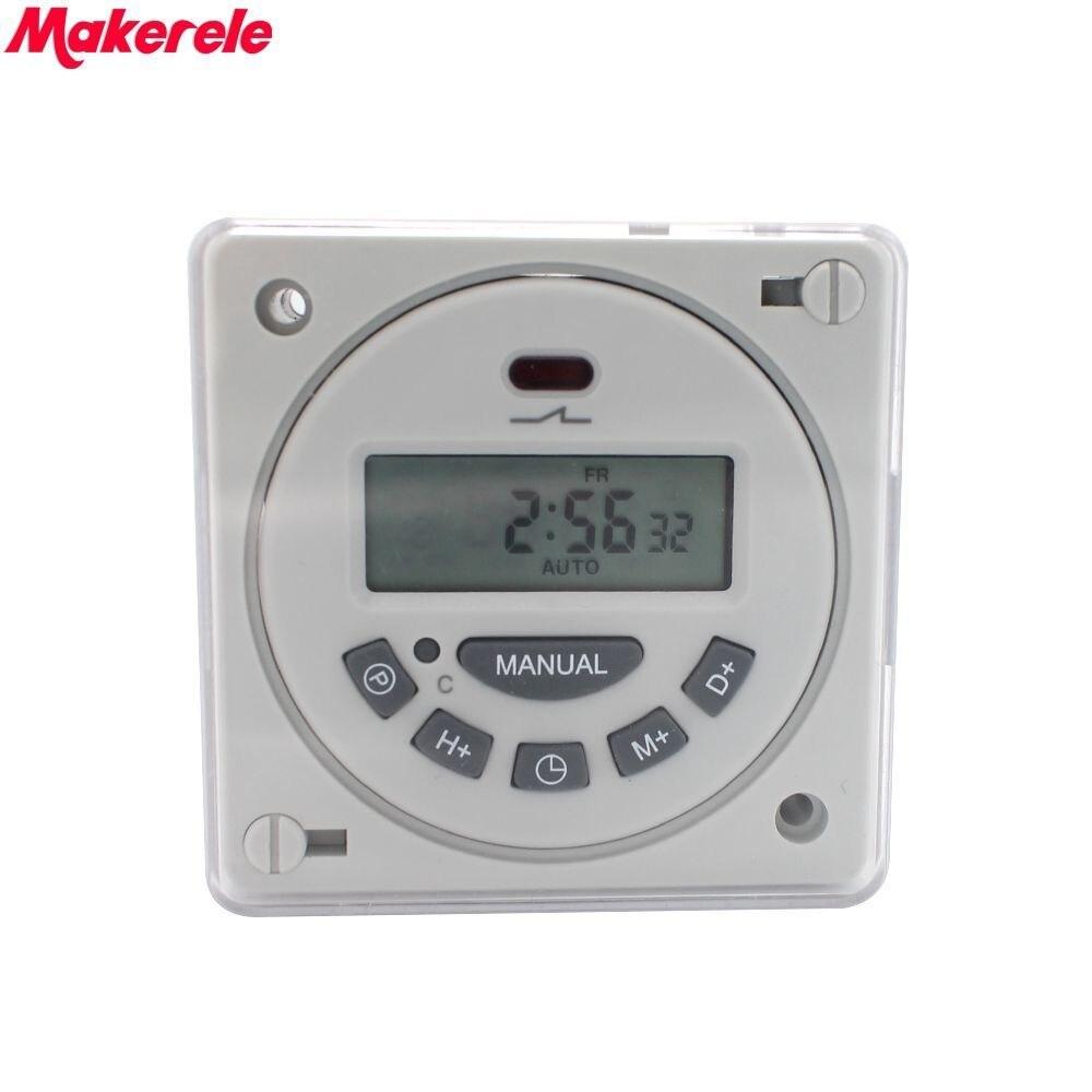 L701 con Shell 16A Digital interruptor de tiempo programable semanal electrónico temporizador CA 220V 110V AC/DC 24V 12V 12V Makerele