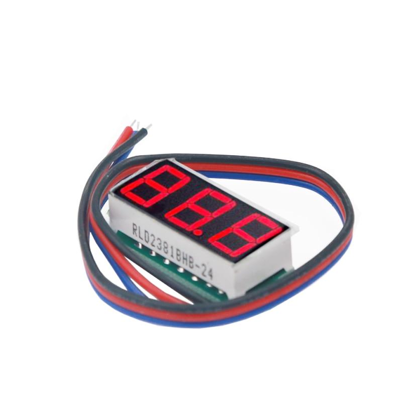 100 unids/lote 0,28 pulgadas 3 baberos voltímetro rojo Digital LED pantalla voltímetro Panel voltaje con tres cables DC0-100V 30% de descuento