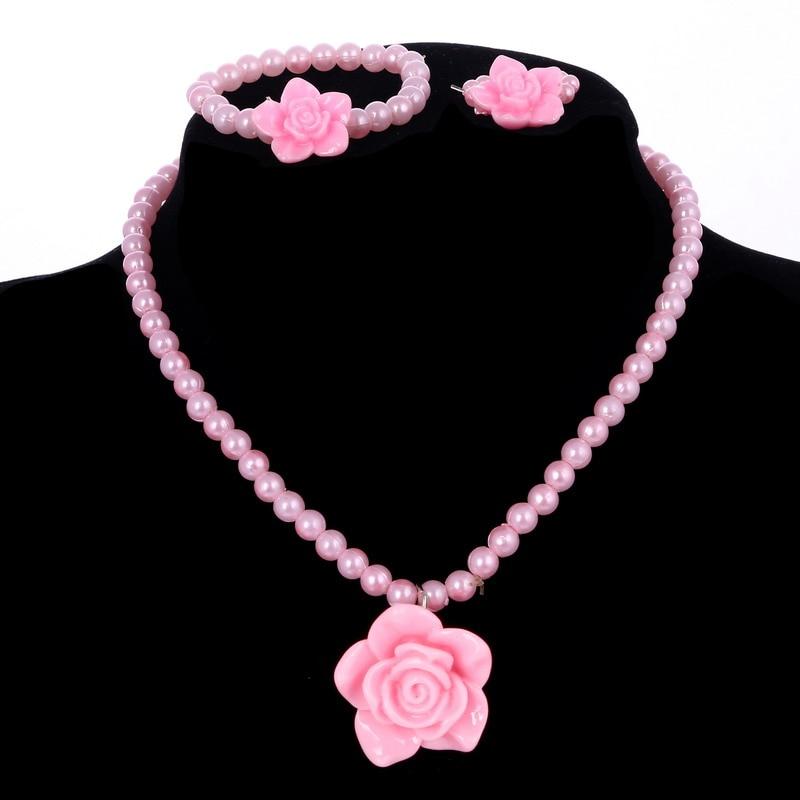 Chicas Rosa collar de perlas de imitación pendiente de flor de resina pulsera, collar, Gargantilla anillo joyería establece precio barato niños joyería