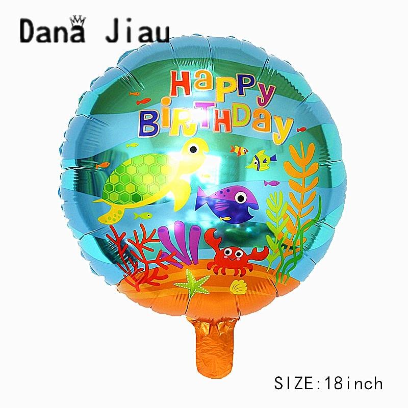 dana jiau 18INCH ocean animal shark HAPPY BIRTHDAY party foil balloon 5 years old girl Mermaid princess theme toy wholesale fish