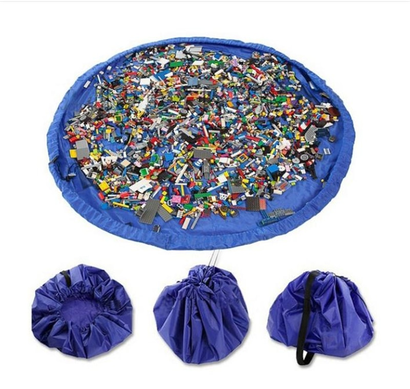 Mini organizador portátil de juguetes para niños, impermeable, al aire libre, cojín, bolsas de almacenamiento, estera de juego, manta de Lego, caja de compartimentos, bolsillo de 3 tamaños