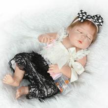 "23""NPK brand full body silicone  fake baby dolls toys sleeping newborn babies girl dolls for child gift bebe real reborn bonecas"