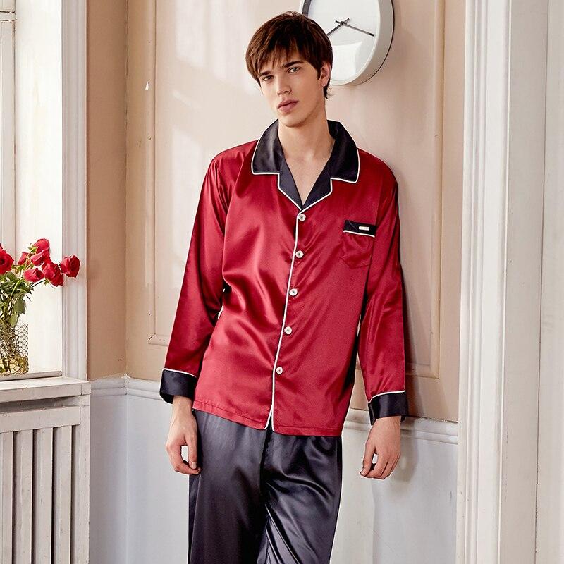 Шелк пижама комплекты мужской весна лето новинка искусственный шелк одежда для сна мужчина двухцветный длинный рукав ночное белье 2 предмета X9005